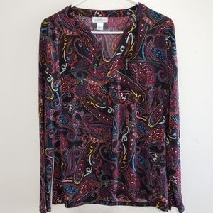 Jaclyn Smith Long Sleeved Boluse Size Medium